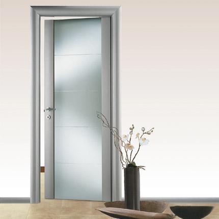 Dania vetro - Laccato alluminio RAL 9006, vetro satinato bianco ...